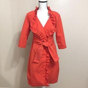 Jcrew Orange Ruffle Trench Coat